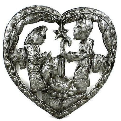 "CLEARANCE Heart with Nativity  Haitian Metal Drum Wall Art(10"" x 11"")"