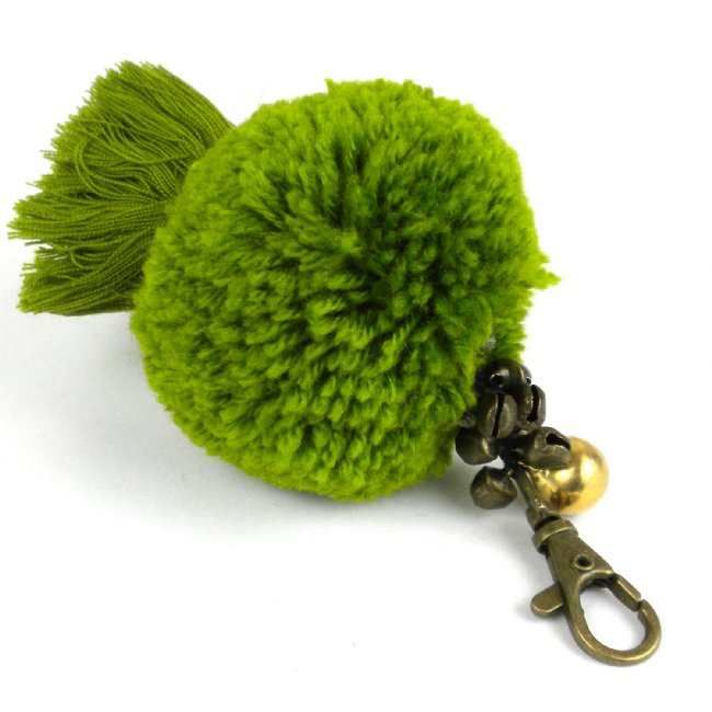Boho Keychain Collection Uber Pom Pom, Olive