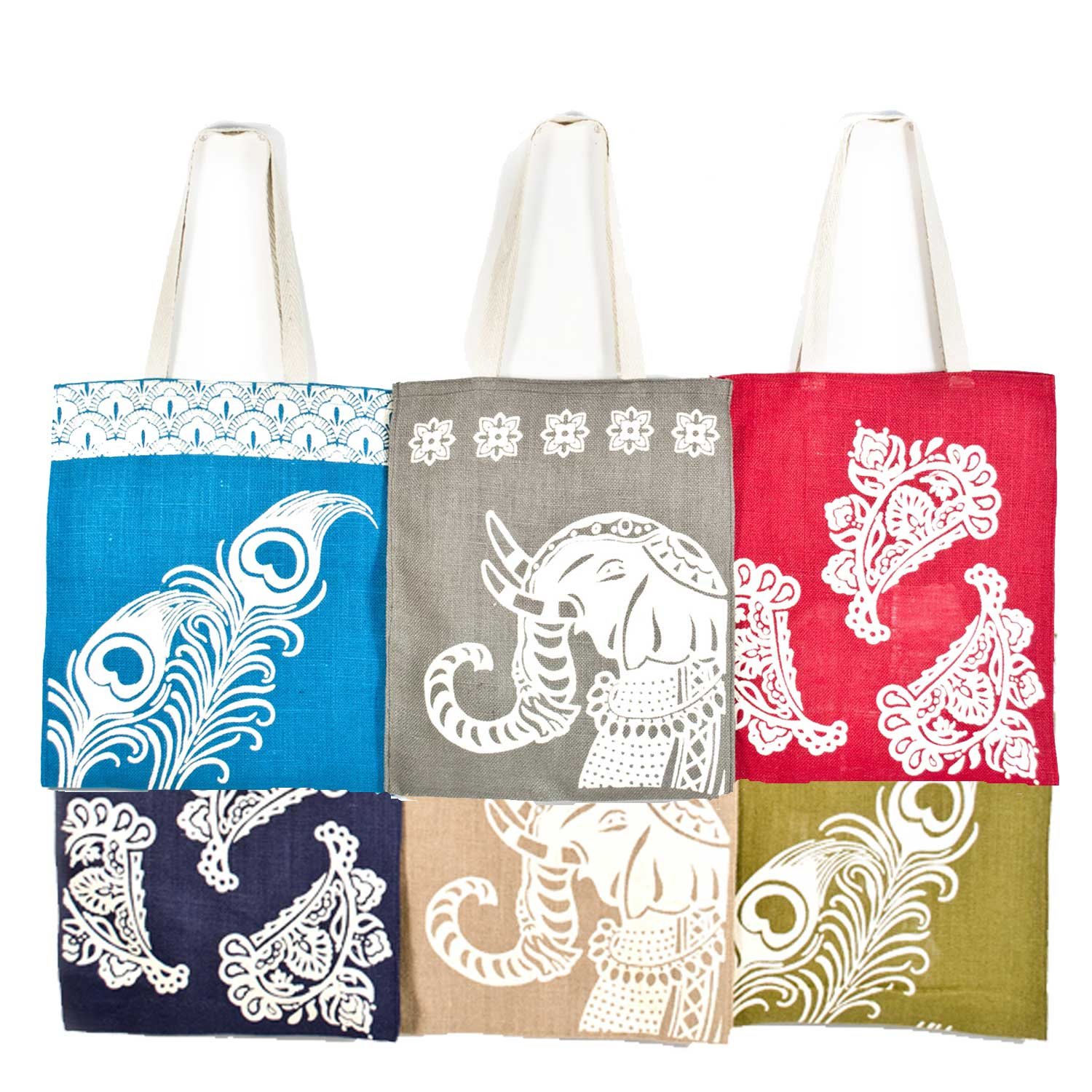 Imprints of India Jute Shoppers- Set of 6