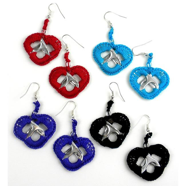 Crochet and Soda Pull Heart Earrings