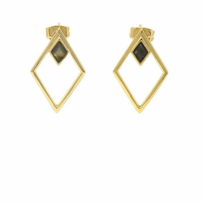Double Diamond Shapes with Stone Stud Earrings