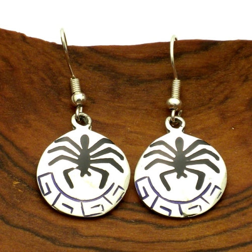 Silver Inlaid Hopi Earrings - Spider