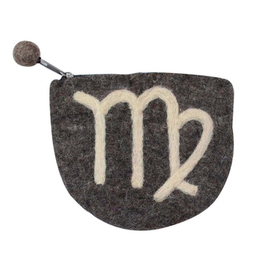 Hand Crafted Felt Pouch from Nepal: Zodiac, Virgo