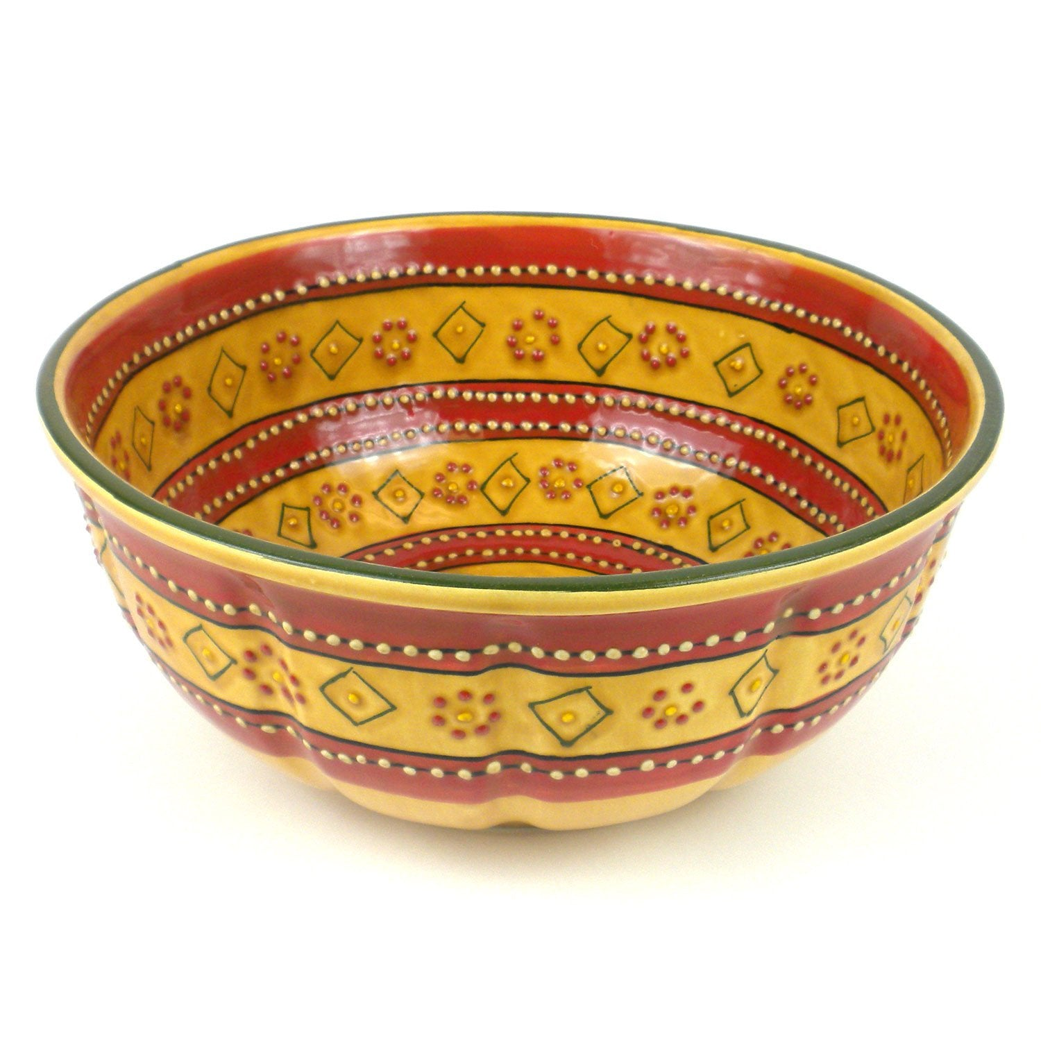 "Encantada Handmade Pottery 11.5"" Round Serving Bowl, Red"