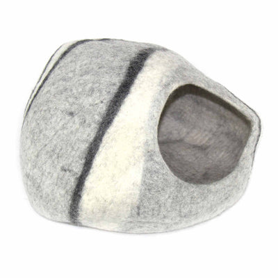 Cat Cave Pet Bed Felted Wool, Grey/Black/Cream