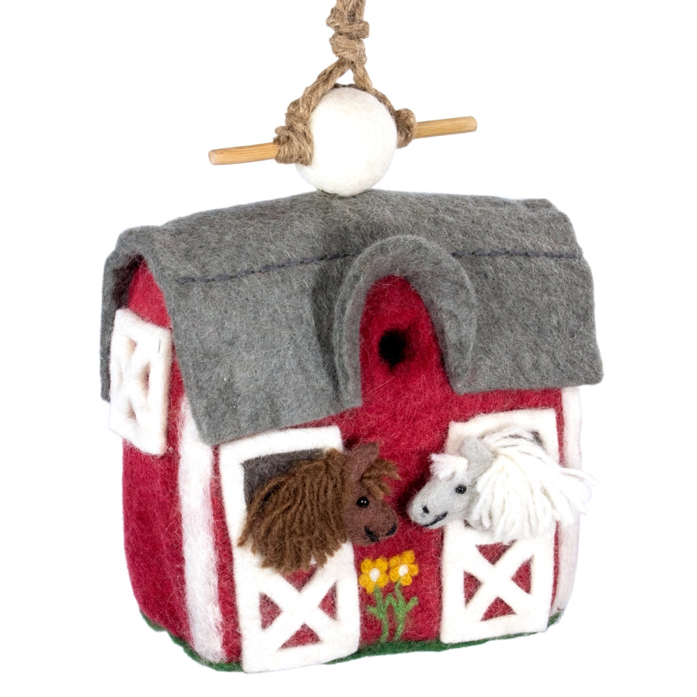 Wild Woolies Felt Birdhouse - Country Stable