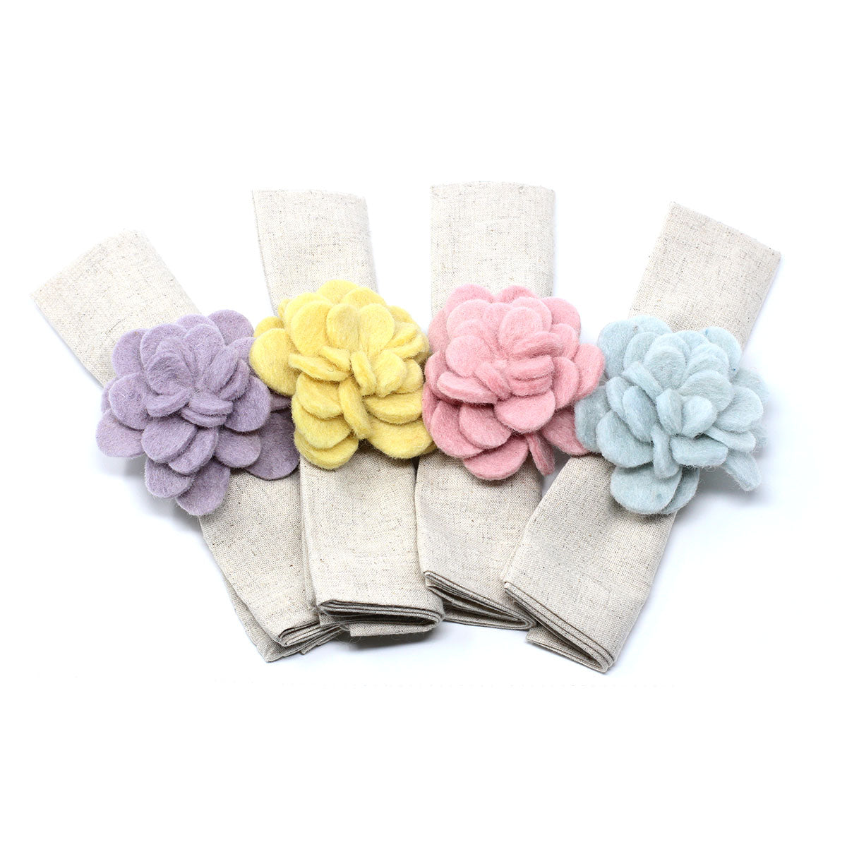 Hand Crafted Felt: Set of 4 Napkin Rings, Assorted Colorful Zinnias