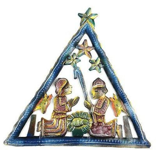 "CLEARANCE Triangle Nativity Painted Haitian Metal Drum Wall Art (8"" x 7"")"