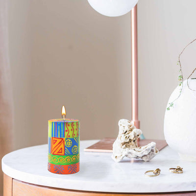 Hand Painted Pillar Candle in Gift Box (Shahida Design)