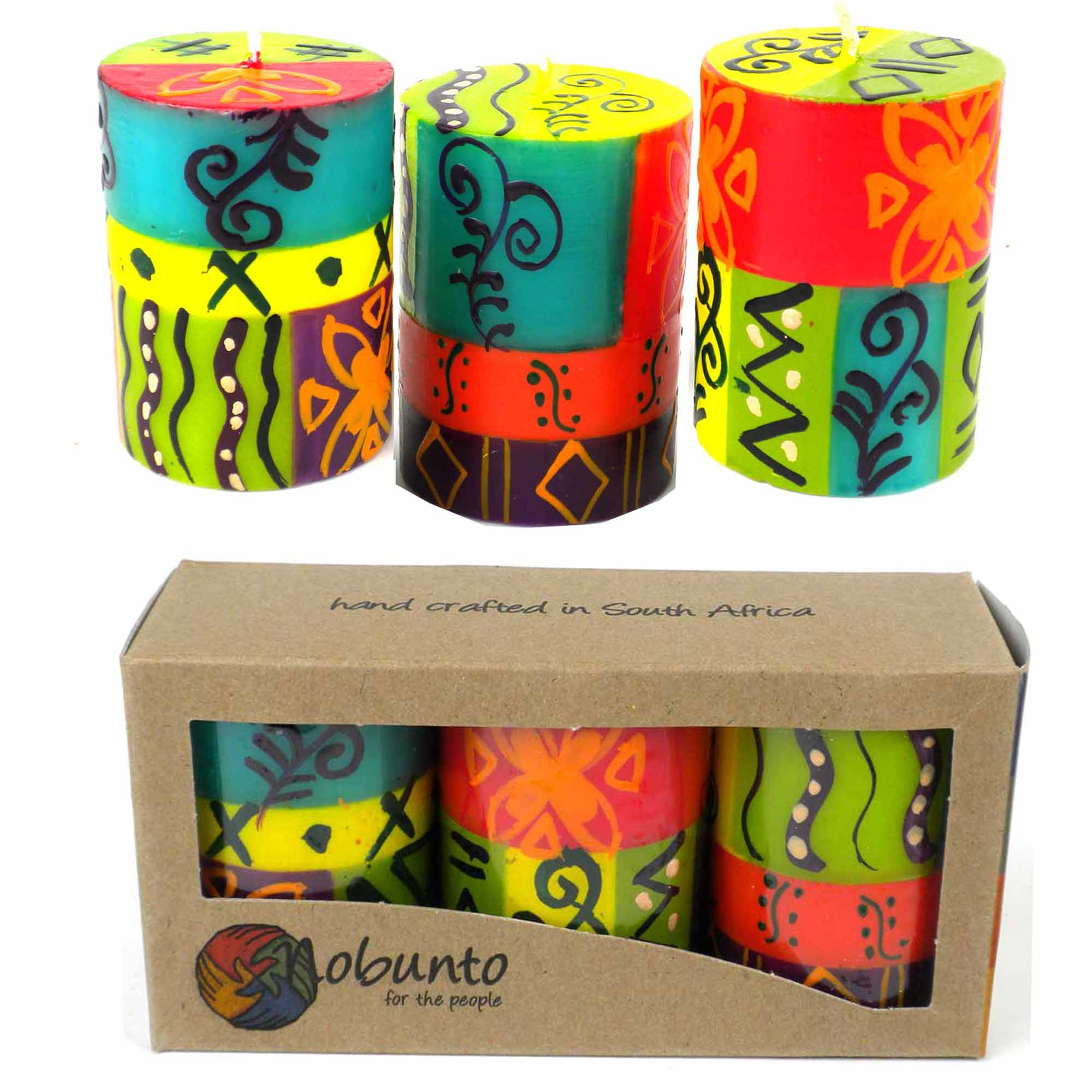 Hand-Painted Votive Candles, Boxed Set of 3 (Matuko Design)