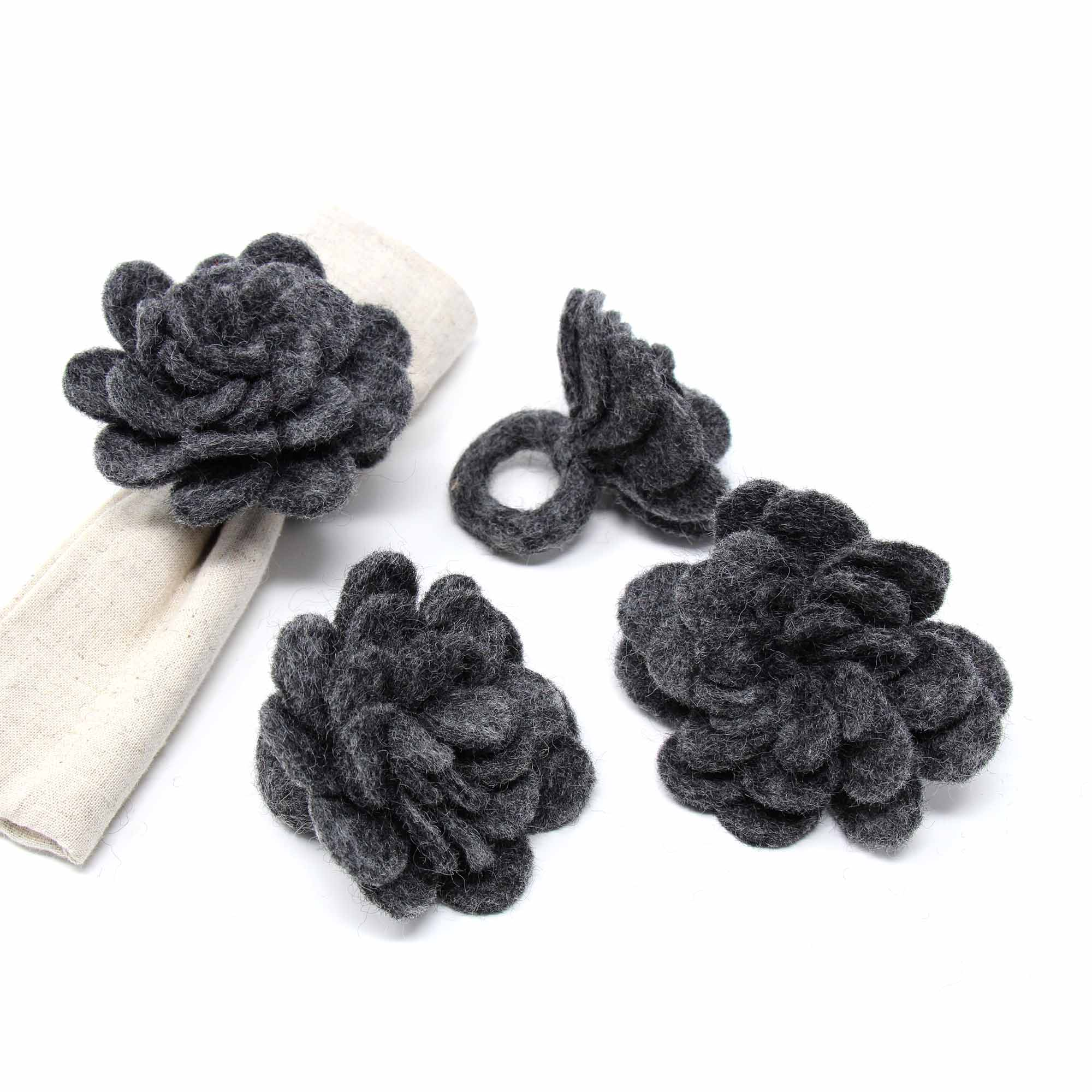 Hand Crafted Felt from Nepal: Set of 4 Napkin Rings, Black Zinnias