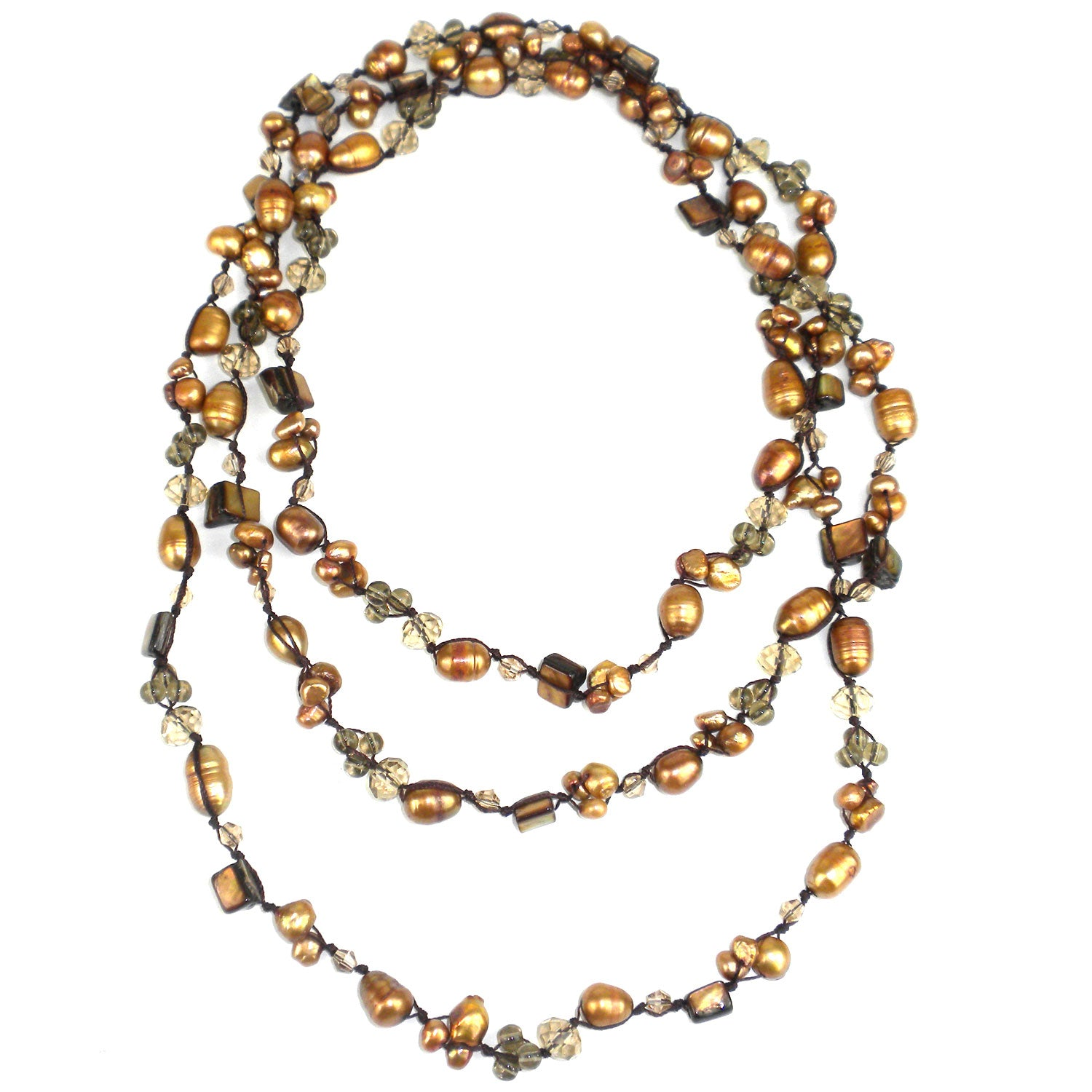 Hand knotted Gold Freshwater Pearl Necklace with Bead Accents