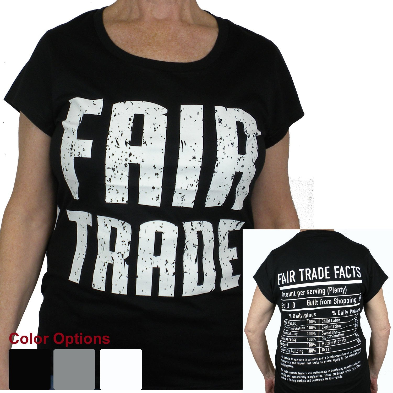 White Tee Shirt Cap Sleeve FT Front - FT Facts on Back - Small