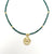 Dark Green Glass Bead Choker with Brass Coin Pendant- Pack of 3