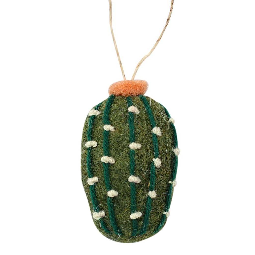 Hand Crafted Felt from Nepal: Ornament, Olive Short Cactus