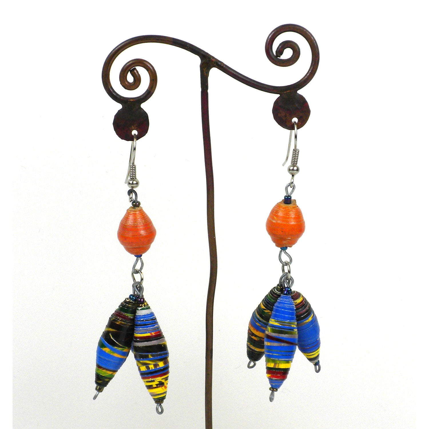 Three Bead Paper Earrings - Kenya