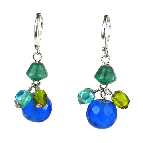 Green/Blue Multi-bead Earrings