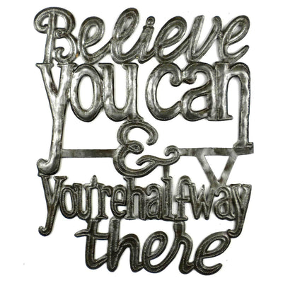 "CLEARANCE ""Believe You Can"" Haitian Metal Drum Wall Art (16"" x 13"")"