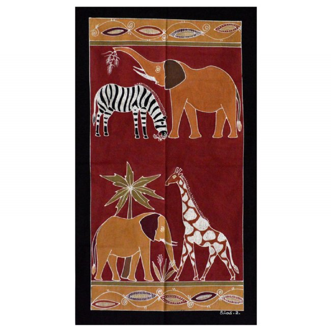 African Hand Painted Tapestry - Various Animals (large)