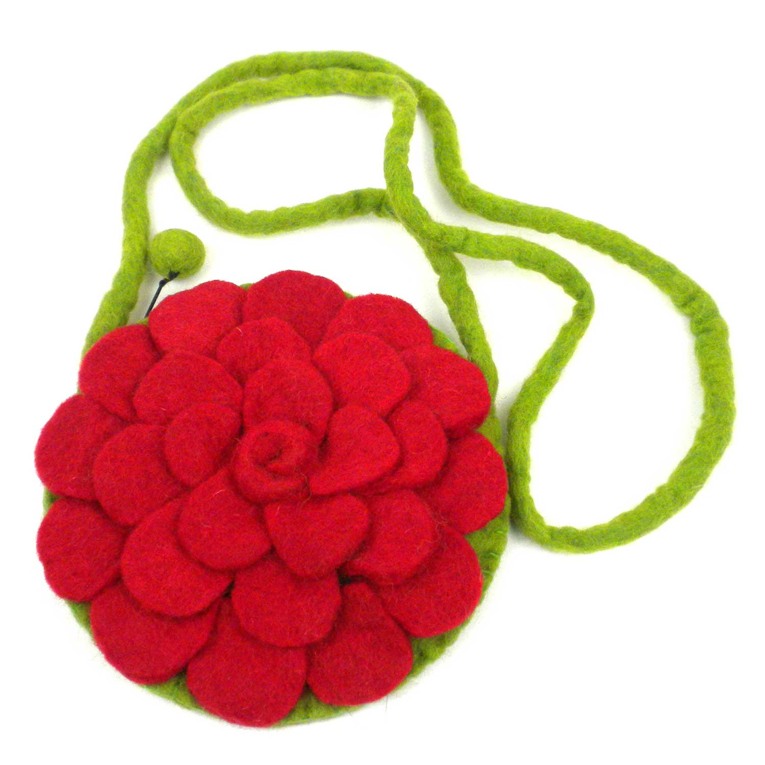 Hand Crafted Felt from Nepal: Shoulder Bag, Red Rose