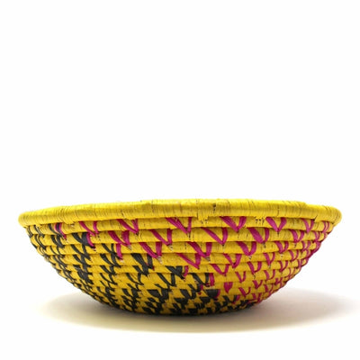 Woven Sisal Basket, Yellow with Black Swirl