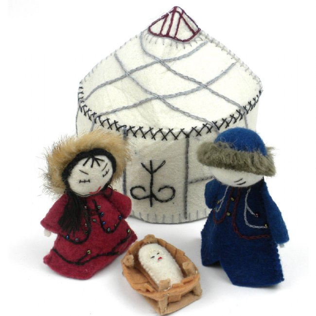 White Holy Family Nativity Ornament Set