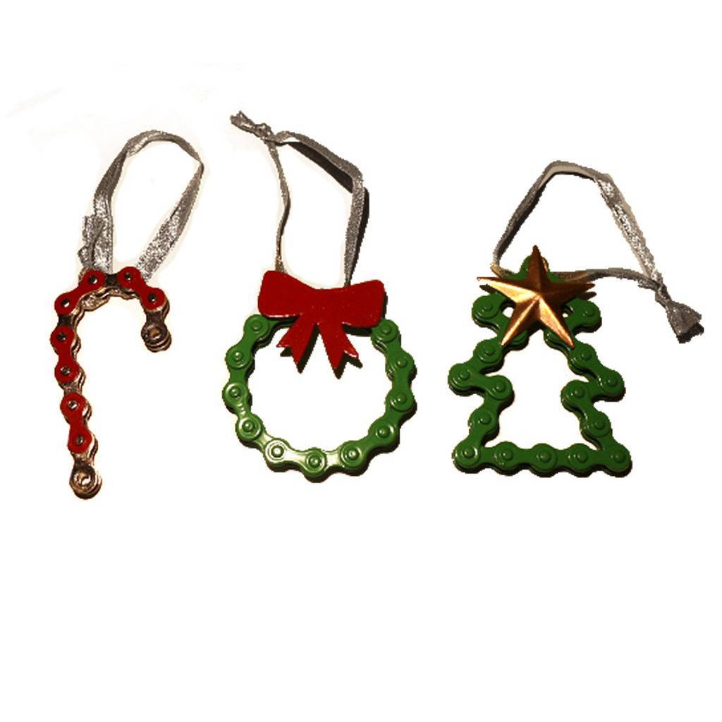 Colorful Bike Chain Ornament Trio