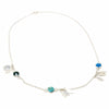 Alpaca Silver Feathers and Turquoise Charm Necklace