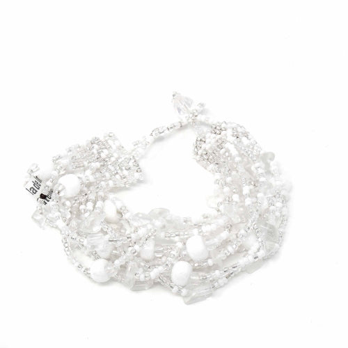 Beachball Beaded Bracelet - Silver White