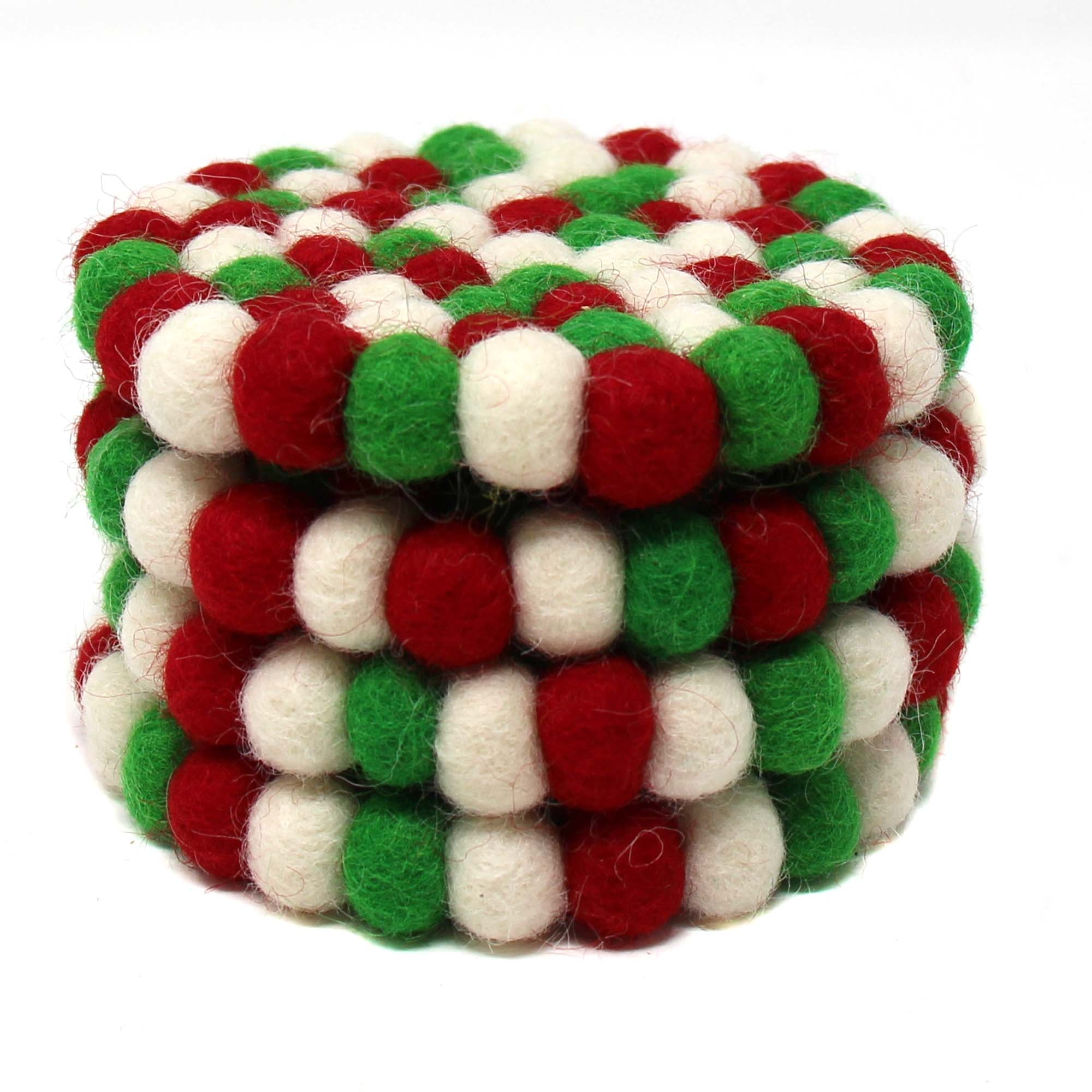 Christmas Felt Ball Coasters, Set of 4