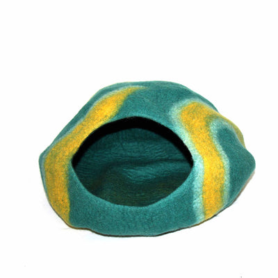 Purrfect Cat Cave: Teal & Mustard