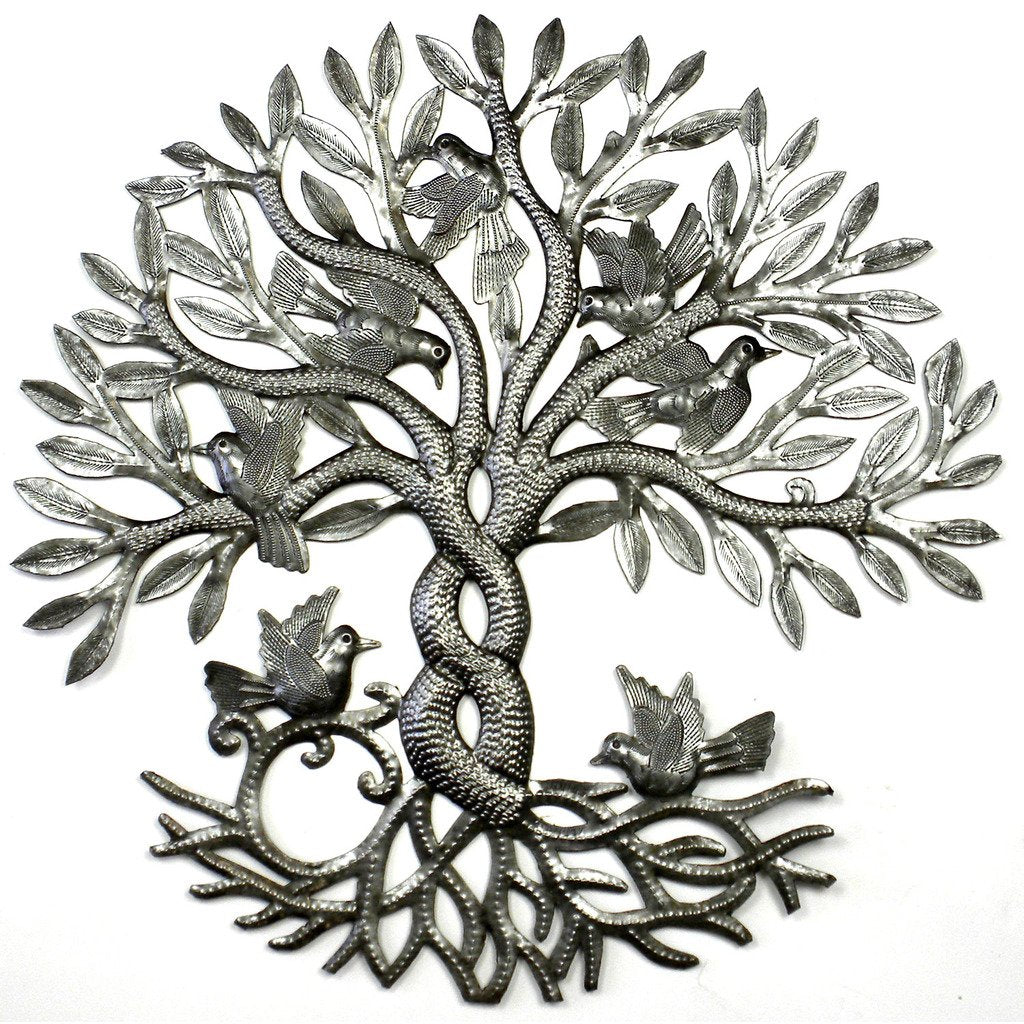SLIGHT IMPERFECTION Entwined Tree of Life Haitian Metal Drum Wall Art, 23""