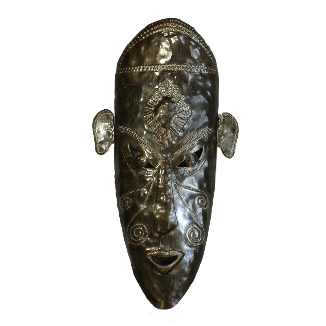 "CLEARANCE Tribal Knowledge Mask  Haitian Metal Drum Wall Art (17"" x 9"")"
