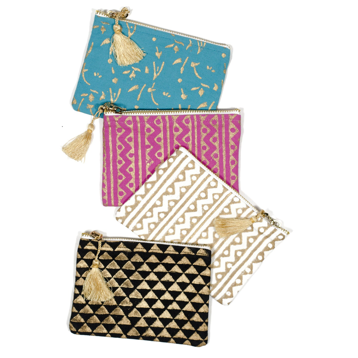 Metallic Block Print Clutch Purse- Set of 4 assorted