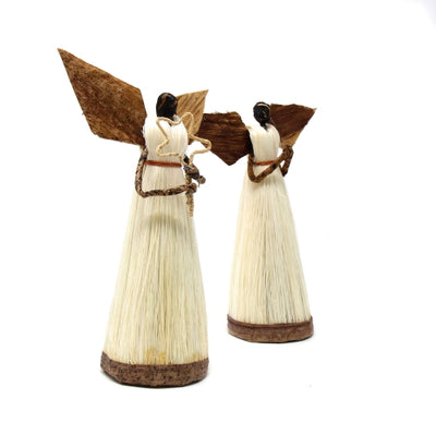 Set of Two 5.5in Standing Sisal Angels - Devotional