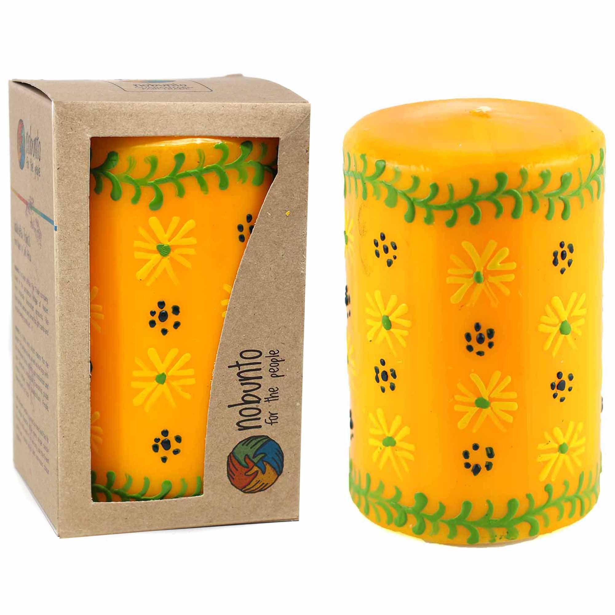 Hand-Painted Yellow Votive Candles, Boxed Set of 3 (Masika Design)