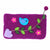 "Hand Crafted Felt Pouch from Nepal: 8"" x 4.5"", Purple Bird"