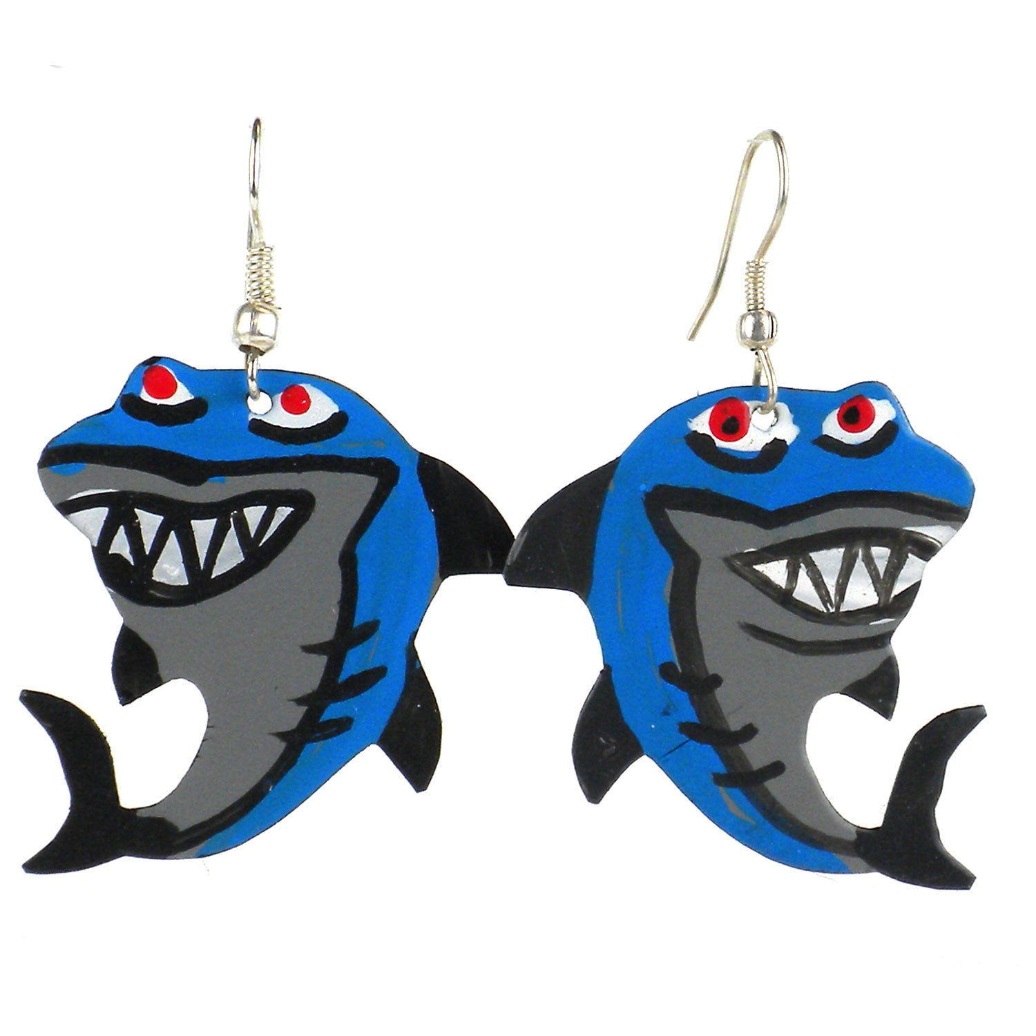 Painted Shark Earrings
