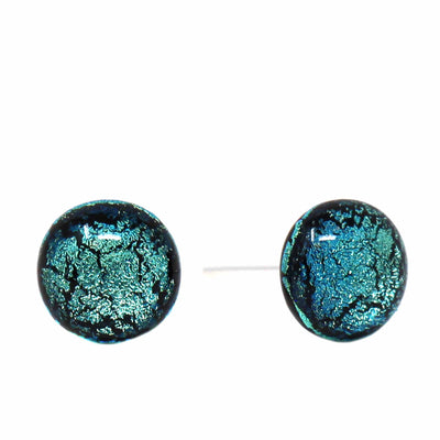 Round Glass Stud Earrings, Turquoise - Pack of 3