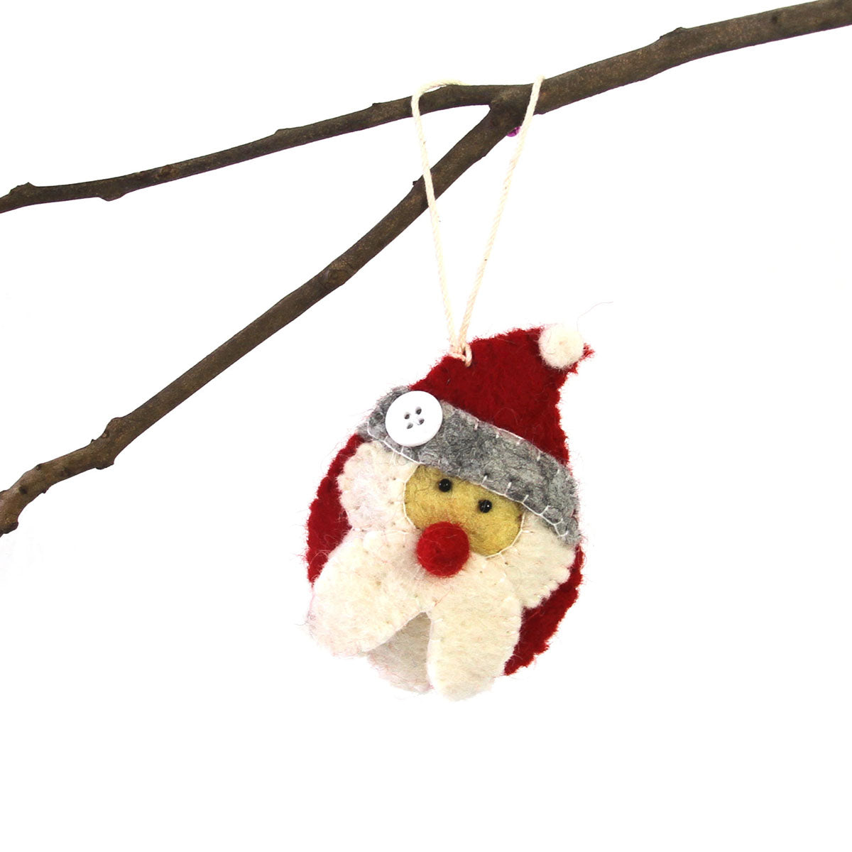 Hand Crafted Felt from Nepal: Ornament, Santa