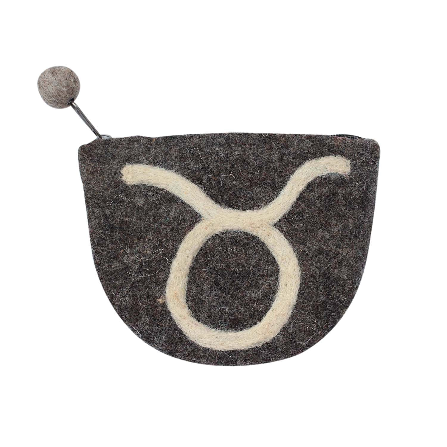 Hand Crafted Felt Pouch from Nepal: Zodiac, Taurus