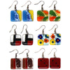 Square Glass Earrings - Assorted Colors