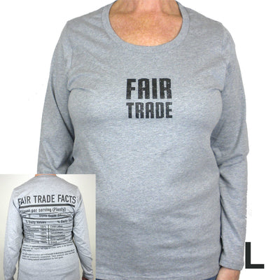 White Tee Shirt Long Sleeve Small FT Front - FT Facts on Back - Medium