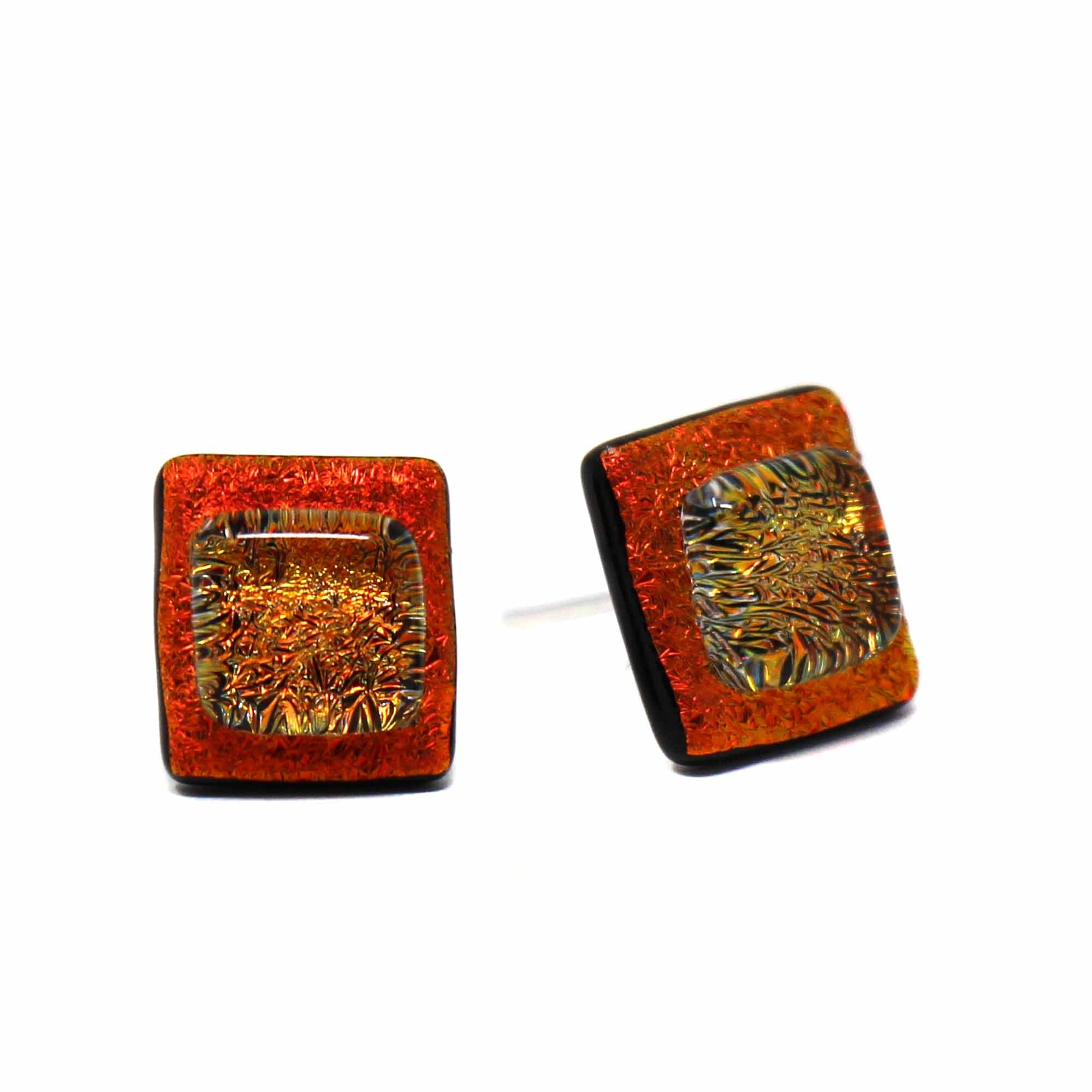 Small Square Glass Stud Earrings - Orange Crush
