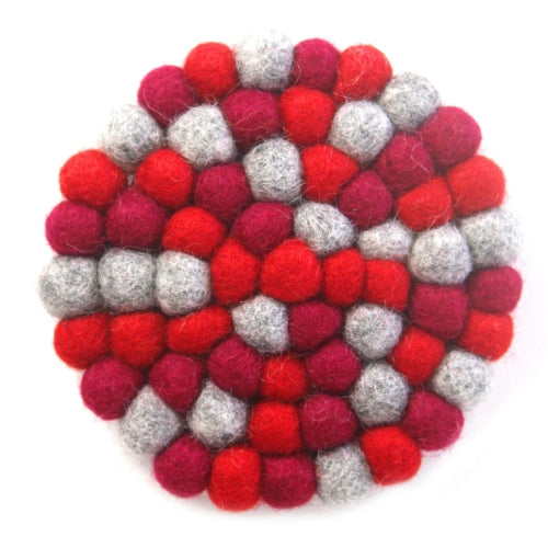 Hand Crafted Felt Ball Trivets from Nepal: Round Chakra, Reds