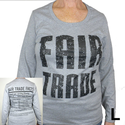 Gray Tee Shirt Long Sleeve FT Front - FT Facts on Back - Small