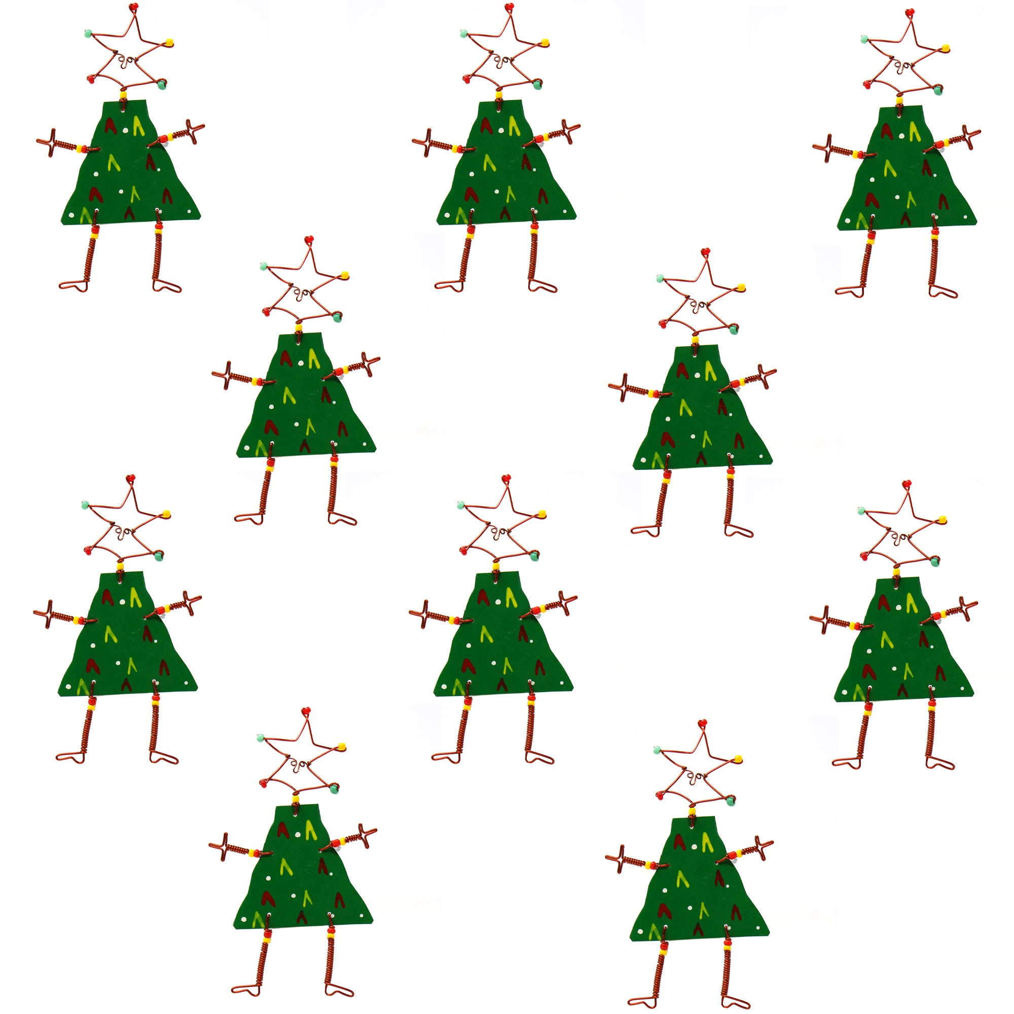Set of 10 Dancing Girl Christmas Tree Pins