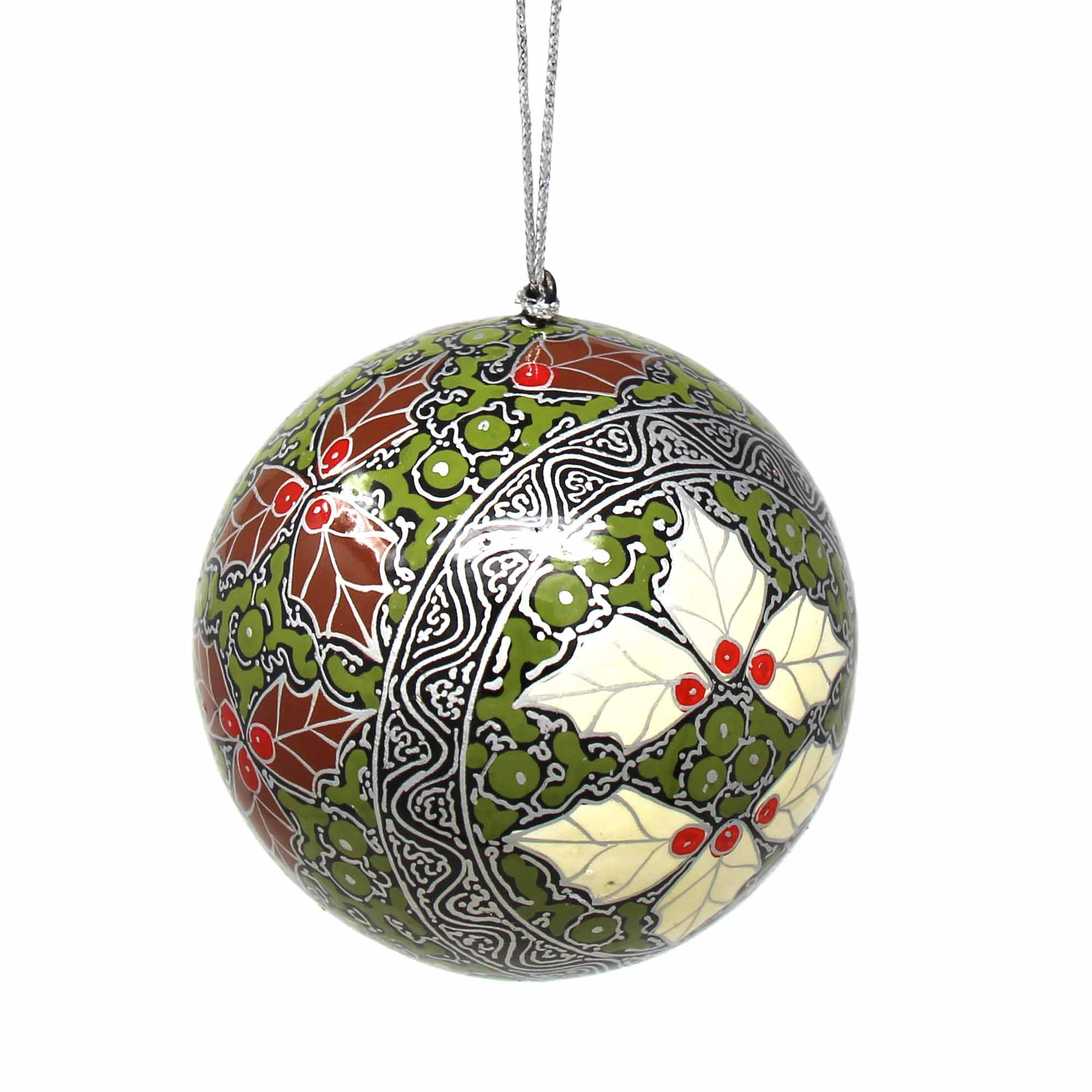 Handpainted Red and Silver Chinar Leaves Papier Mache Hanging Ball Ornament