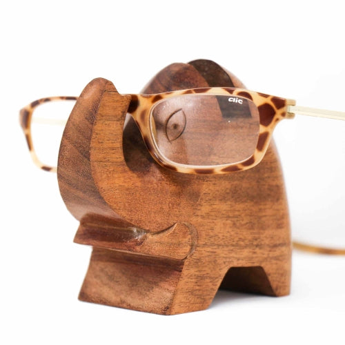 Elephant Eyeglass Acacia Wood Stand - Pack of 3