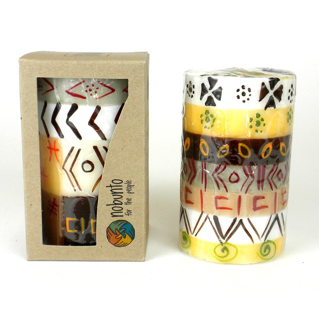Hand-Painted Pillar Candle in Gift Box, 4-inch (Akono Design)